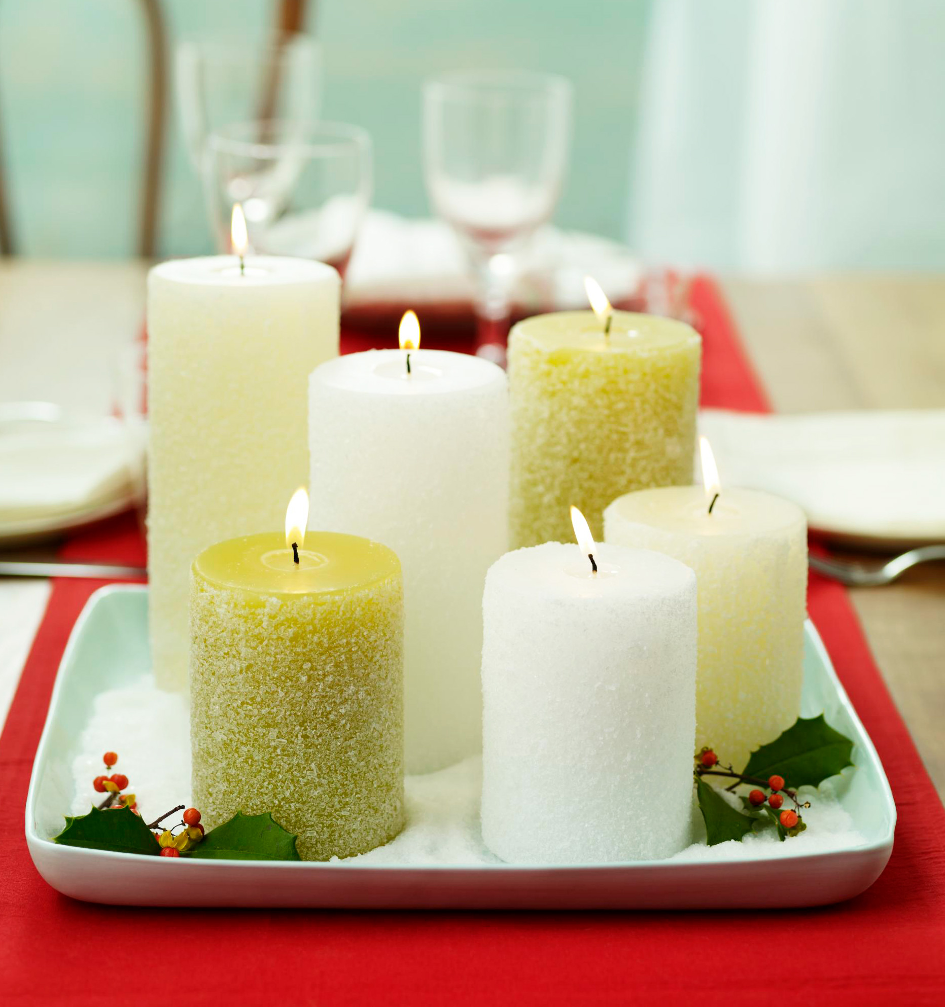 Christmas centerpiece ideas: sparkle candles