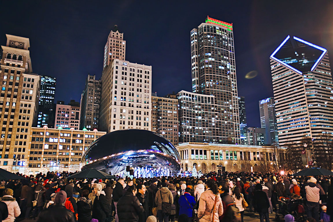 On the Fridays between Thanksgiving and Christmas, thousands of visitors gather near the Bean in Millennium Park to sing carols along with guest choirs and their conductors.