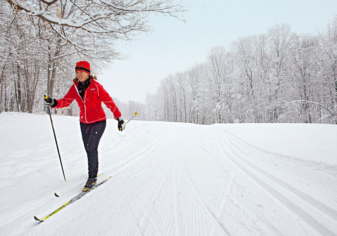 Choose from miles of well-groomed trails; some have lights for night skiing.