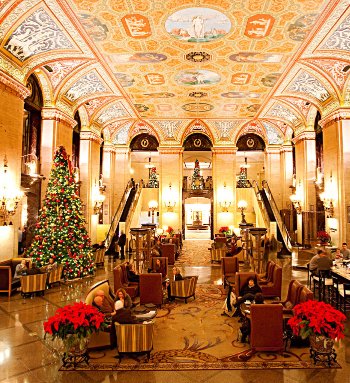 The Breathtaking Lobby At Chicago S Palmer House Hilton Signals That Thanksgiving Dinner Will Be One To