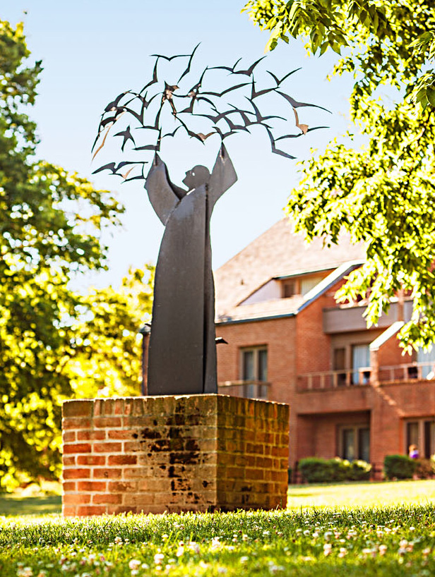 "The sculpture ""St. Francis and the Birds"" at the New Harmony Inn."