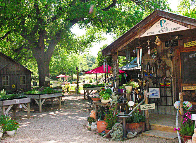 Rustic cabins house a spa and gift shop at Fredericksburg Herb Farm. Photo Courtesy of Fredericksburg Herb Farm.