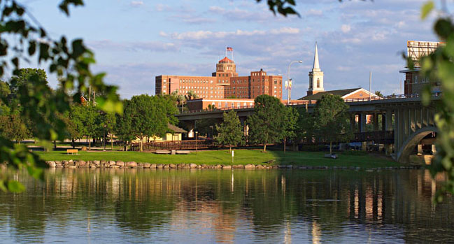 Rockford, a city of 152,800, stands along the Rock River. Photo courtesy of Mike Graham/Rockford Area Convention and Visitors Bureau.