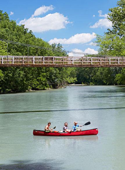 Local canoe liveries operate trips on Sugar Creek.