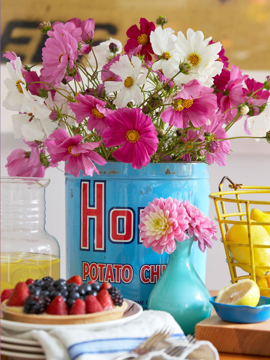 Can of flowers centerpiece
