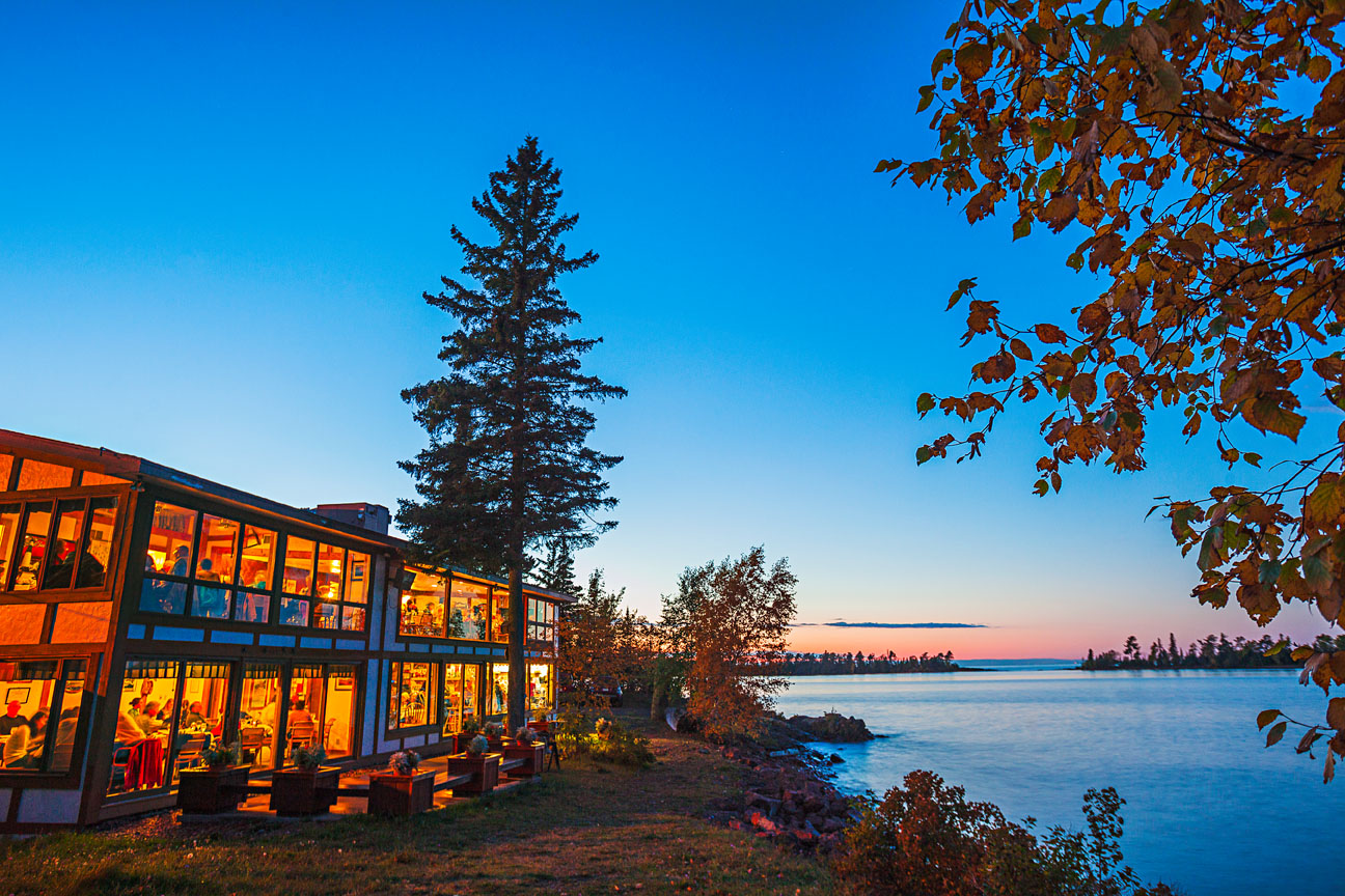 The Harbor Haus in Copper Harbor looks out on ferries traveling to Isle Royale.