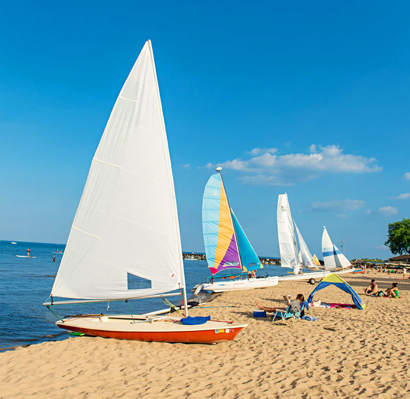Rent a sailboat or kayak at the Dempster Street Beach.