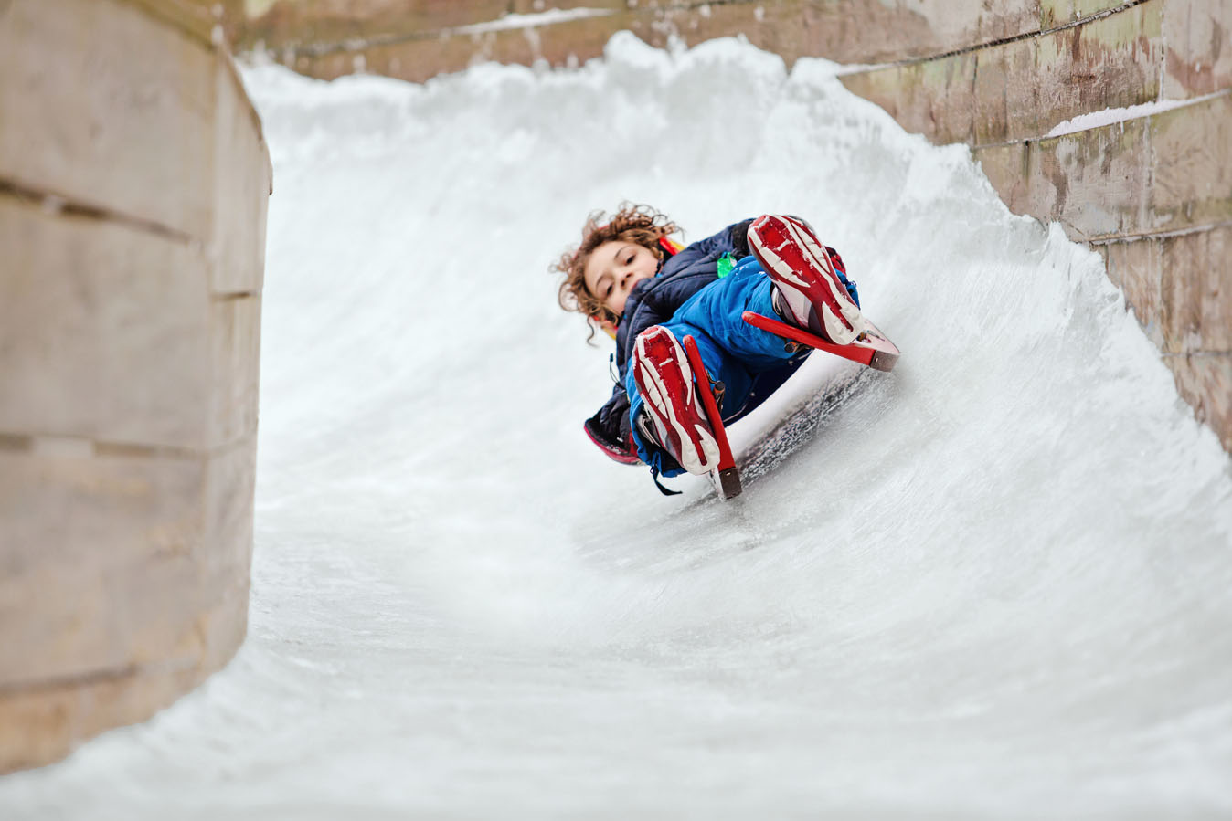 Luge Sledding in Muskegon, Michigan.
