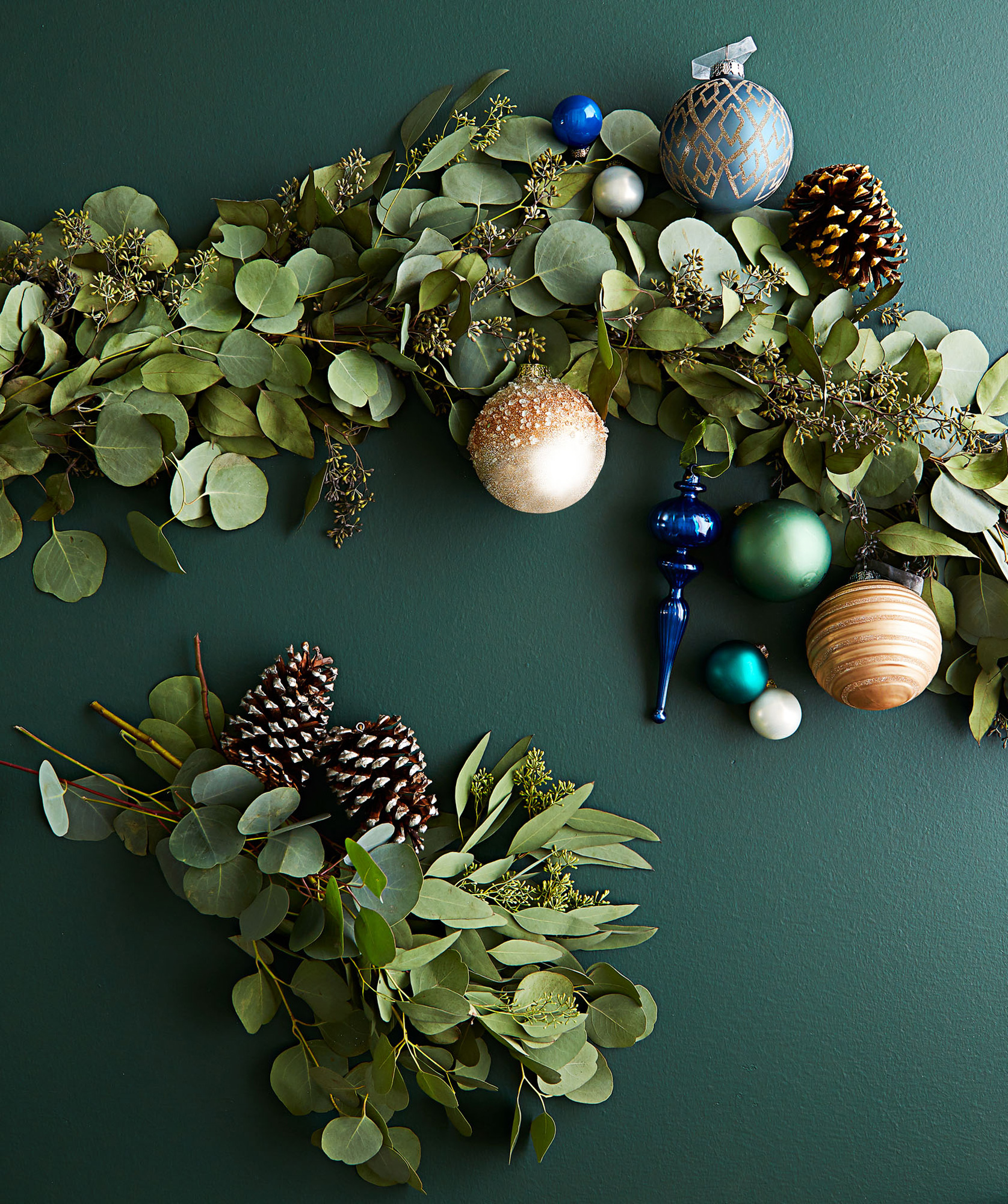 Spruce up branches with natural touches such as pinecones or eucalyptus garlands.