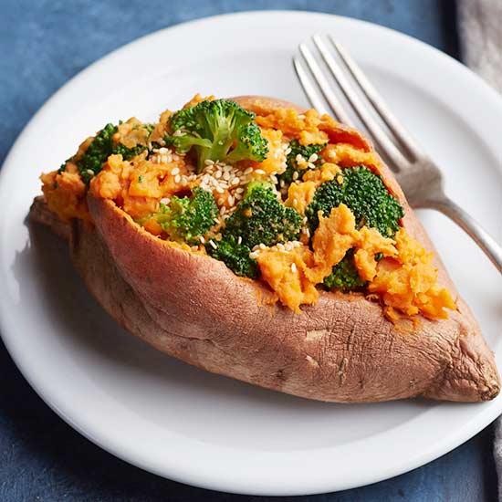 Hummus-Sesame Sweet Potatoes