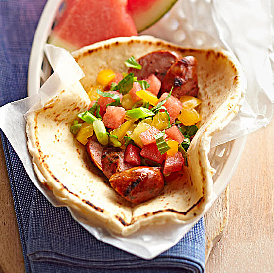 Chicken Sausage Sandwiches with Watermelon Salsa