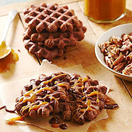 Chocolate Waffle Turtle Cookies