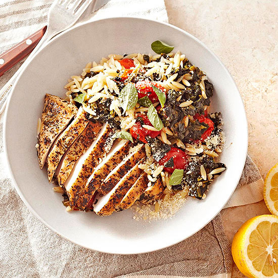 Greek Oregano Chicken with Spinach, Orzo and Grape Tomatoes