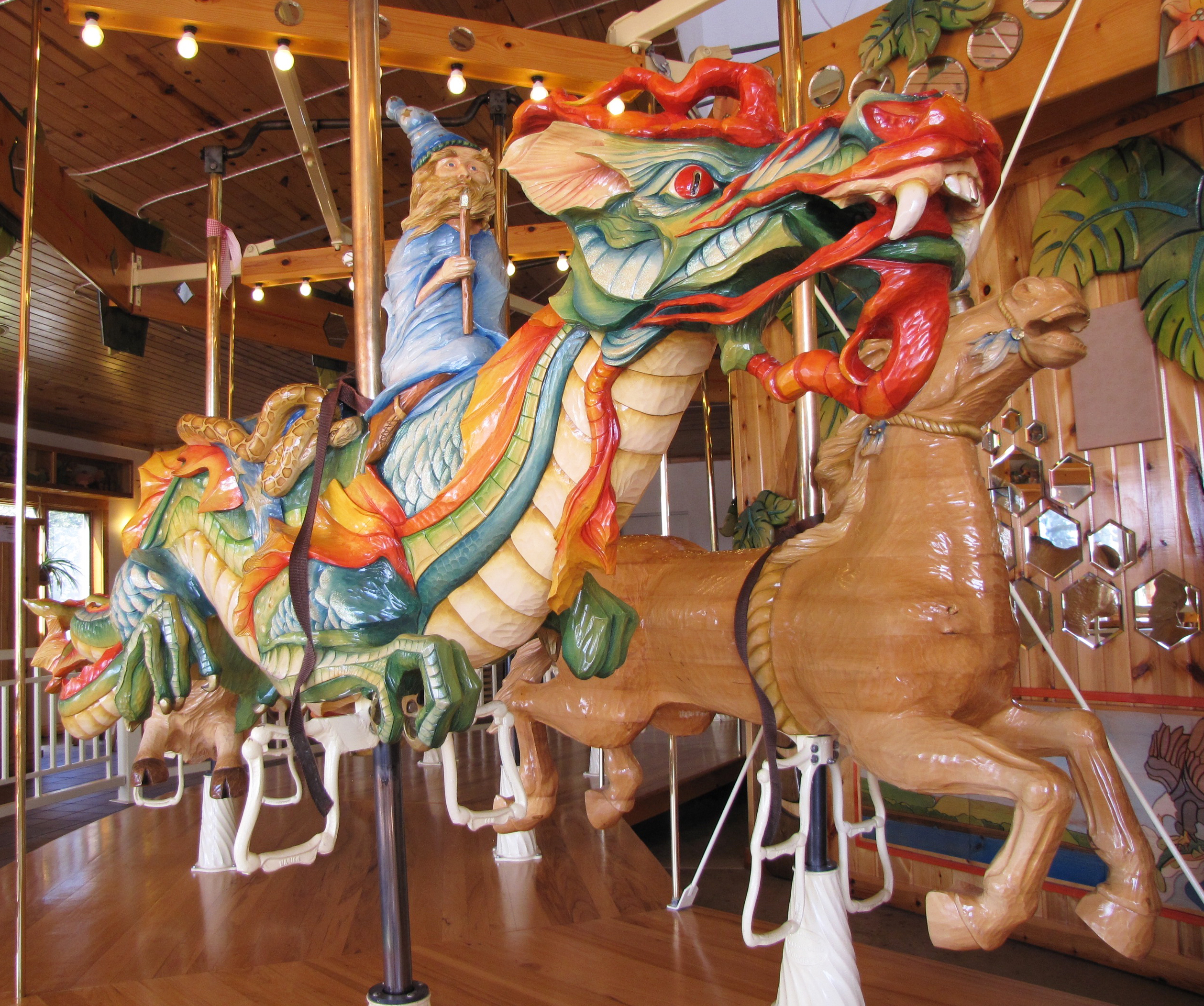 Hand-carved carousel at LARK Toys.