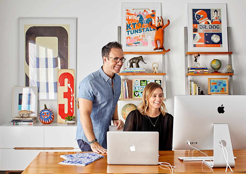 Tad and Jessica Carpenter at their home studio