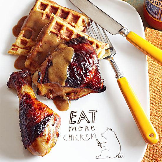 Orange Maple Roasted Chicken and Mashed Potato Waffles