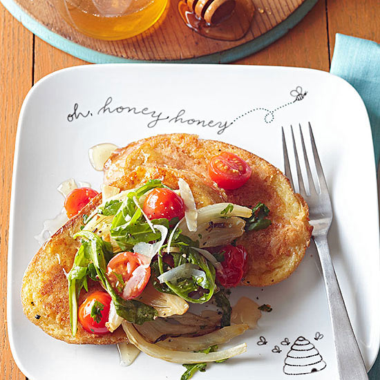 Parmesan French Toast with Roasted Fennel and Tomato Salad