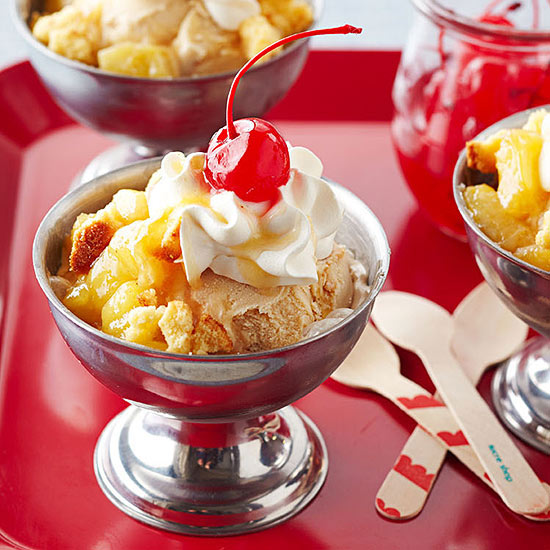 Pineapple Upside-Down Cake Sundaes