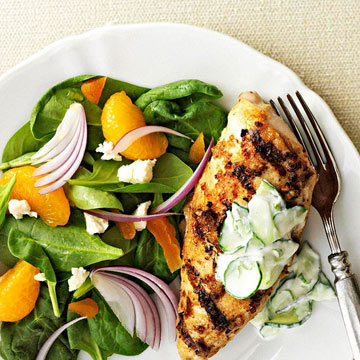 Spiced Chicken with Cucumber-Mint Sauce