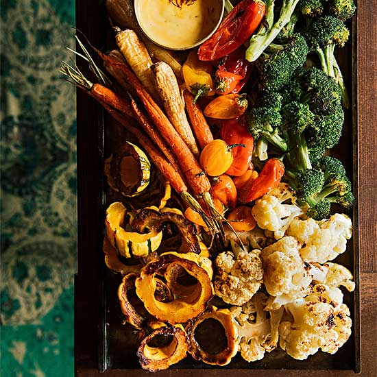 Roasted Fall Vegetables with Saffron Aioli
