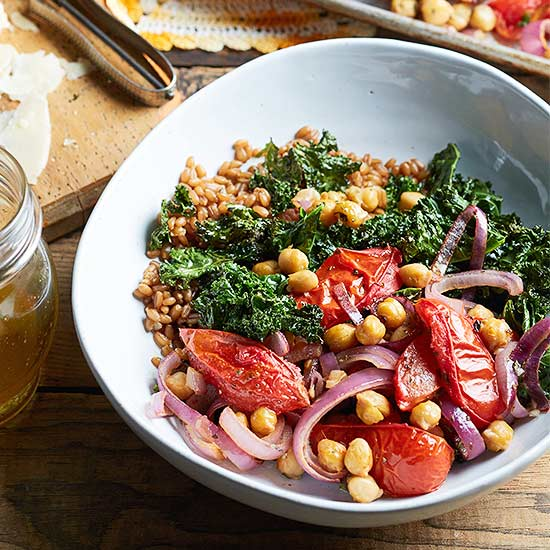 Roasted Kale, Tomato and Chickpea Salad with Wheat Berries