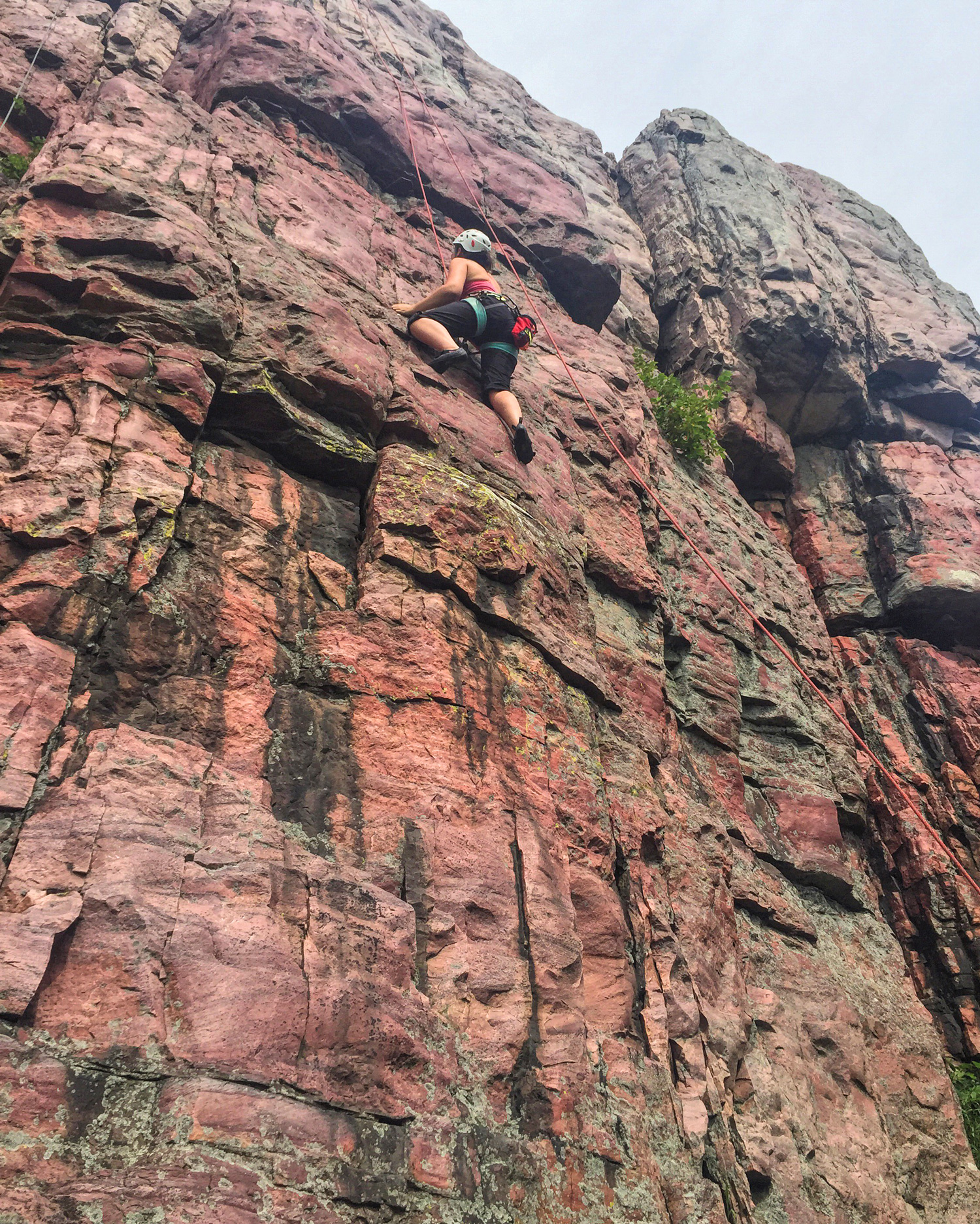 Amanda tackles Blue Mound State Park's 100-foot Sioux quartzite cliff