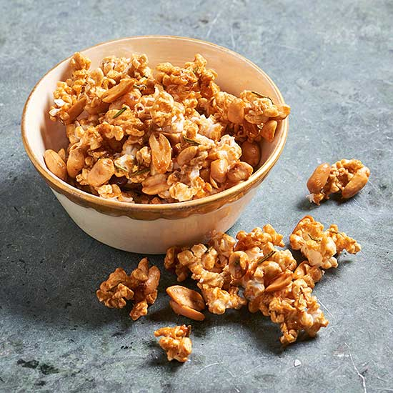 Spicy Rosemary-Peanut Caramel Corn