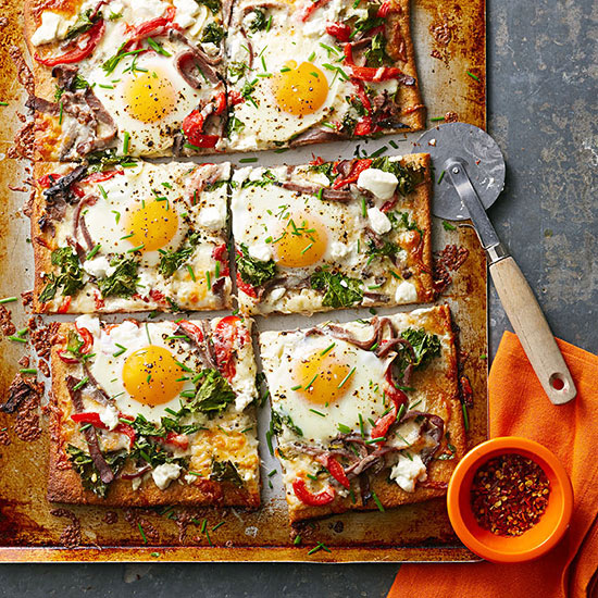 Steak, Egg and Goat Cheese Pizza