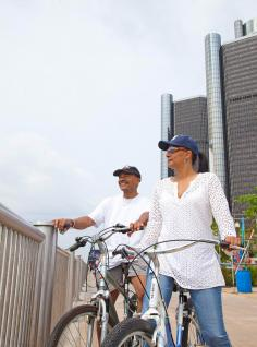 Biking in Detroit.