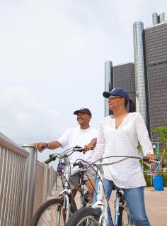 Biking in Detroit.