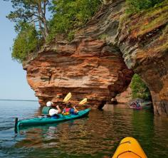 Exploring sea caves around the Apostle Islands