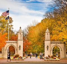 Made of limestone, the Sample Gates echo the architecture found across IU's campus.