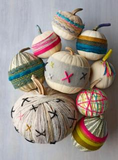 Yarn-wrapped pumpkins