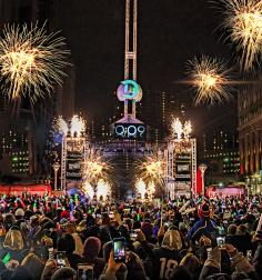 "A 7-foot ""D"" dives 90 feet at downtown Detroit's Motor City NYE--The Drop."