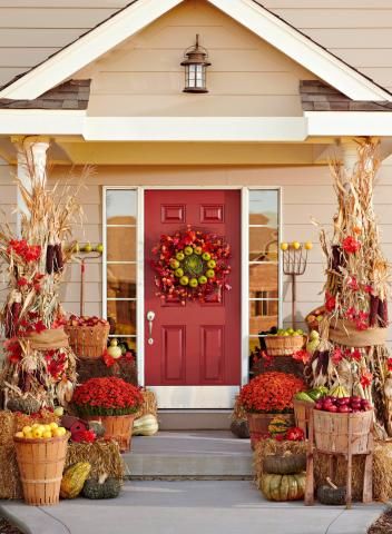 3 Fun Themes For Fall Door Decorations Midwest Living: how to decorate your house for thanksgiving