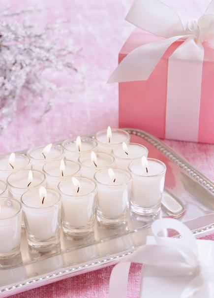 Pink and silver tea lights