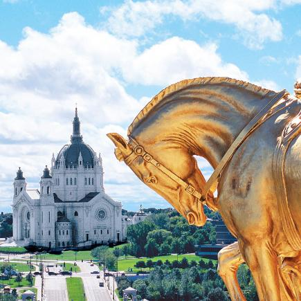 Golden horses top the Minnesota State Capitol
