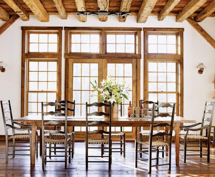 Bright And Rustic Sunlight Floods This Dining Room