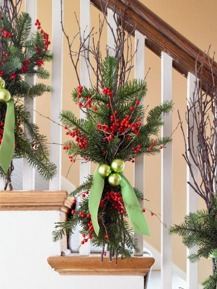 deck the banister - Christmas Tree Branch Decorations