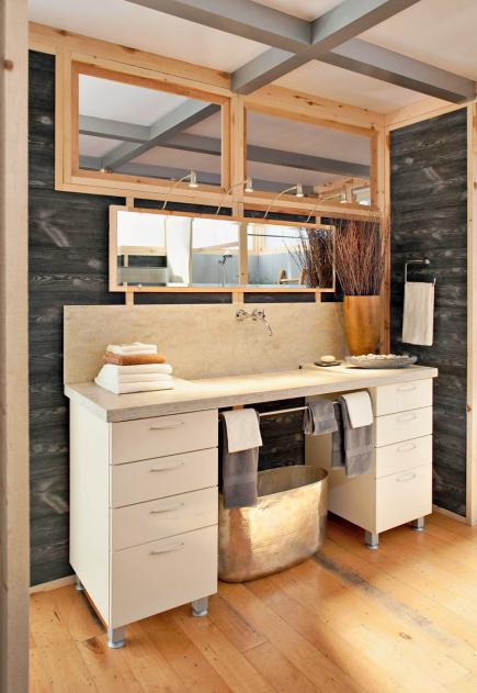 Modern, farm-style vanity for bathroom