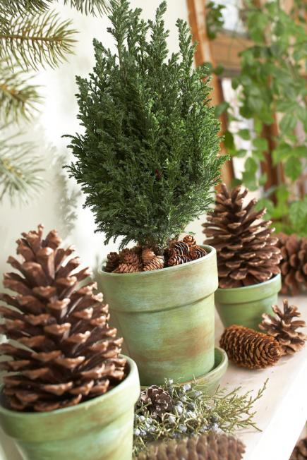 pinecone mantel - Pine Cone Christmas Tree Decorations