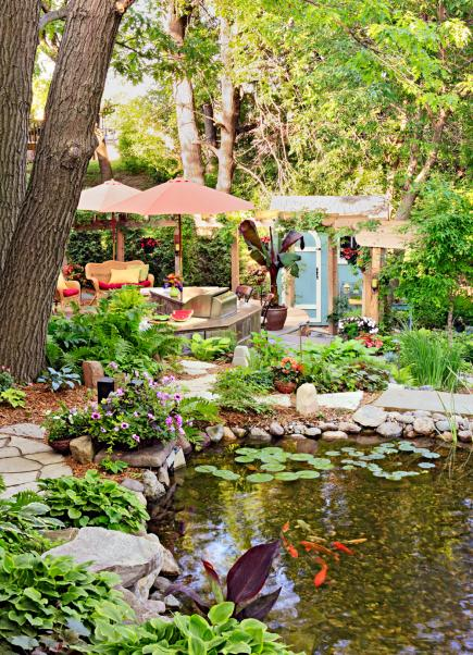 How to make your backyard a vacation oasis midwest living for Pond shade ideas