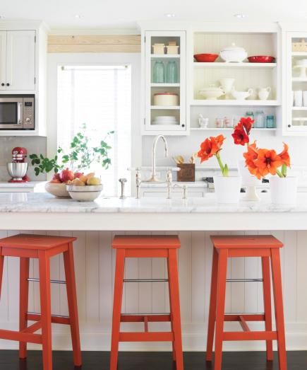 add color to a white kitchen