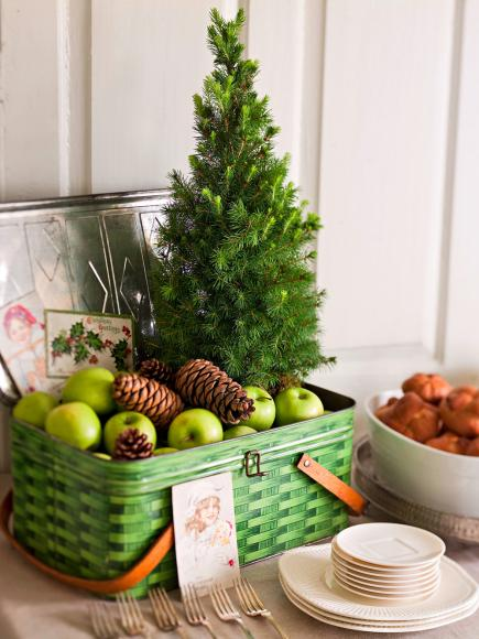 Tree basket decoration & Decorate with Tiny Christmas Trees | Midwest Living