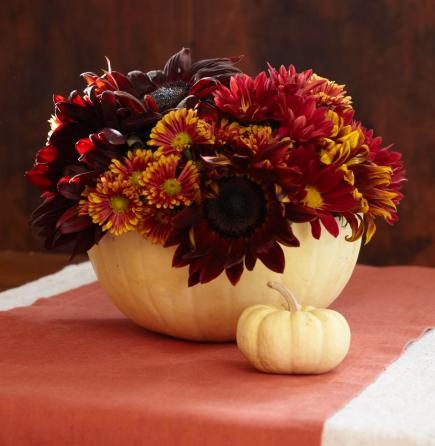 pumpkin mums - Thanksgiving Centerpieces Ideas