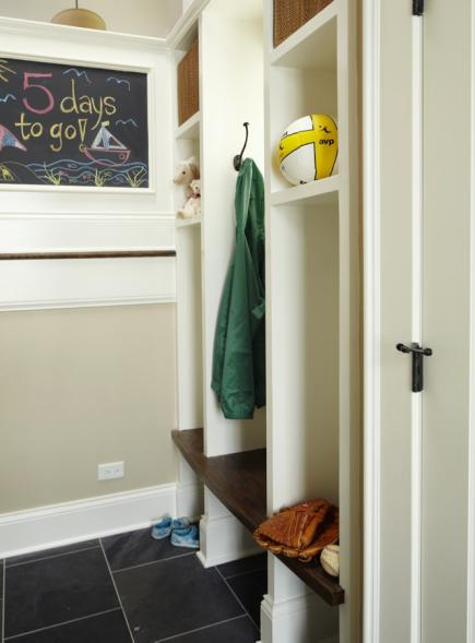 A mudroom chalkboard offers time organization for the family