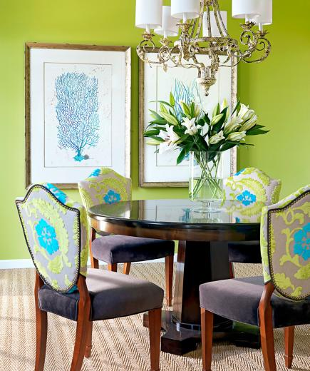 Vivid Setting. Bold Wall Color And Fabric Choices Energize This Dining Room  ...