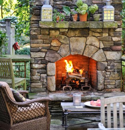 Outdoor fireplace mantel height