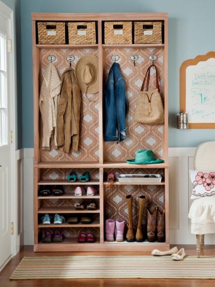 Use A Bookshelf To Turn An Entry Into Mudroom Area
