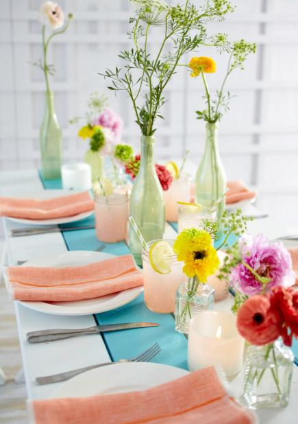Split bouquet spring centerpiece